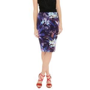KAREN MILLEN Tropical Print Pencil Skirt